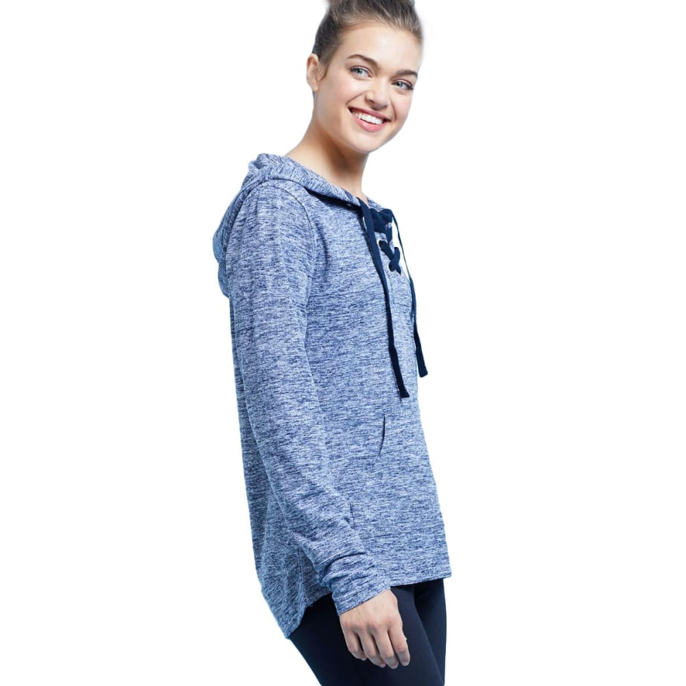 BALANCE COLLECTION BY MARIKA Women's Danique Lace-Up Hoodie - HTR MDINIGHT BLUE-4D