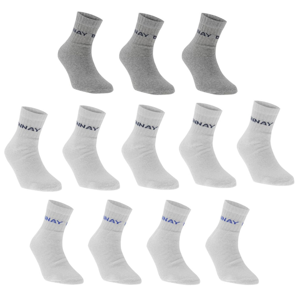 Donnay Kids' Quarter Socks, 12 Pack - White, 2Y-7Y