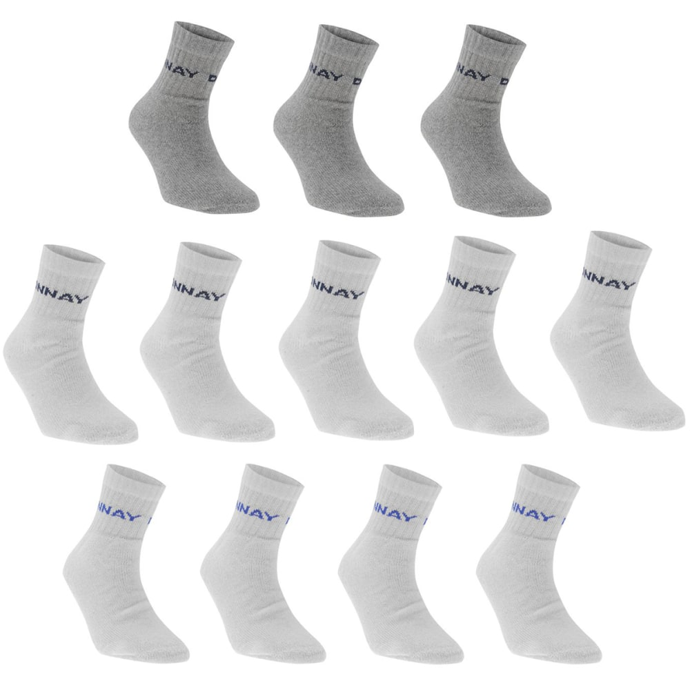 Donnay Men's Quarter Socks, 12 Pack - White, 8-12