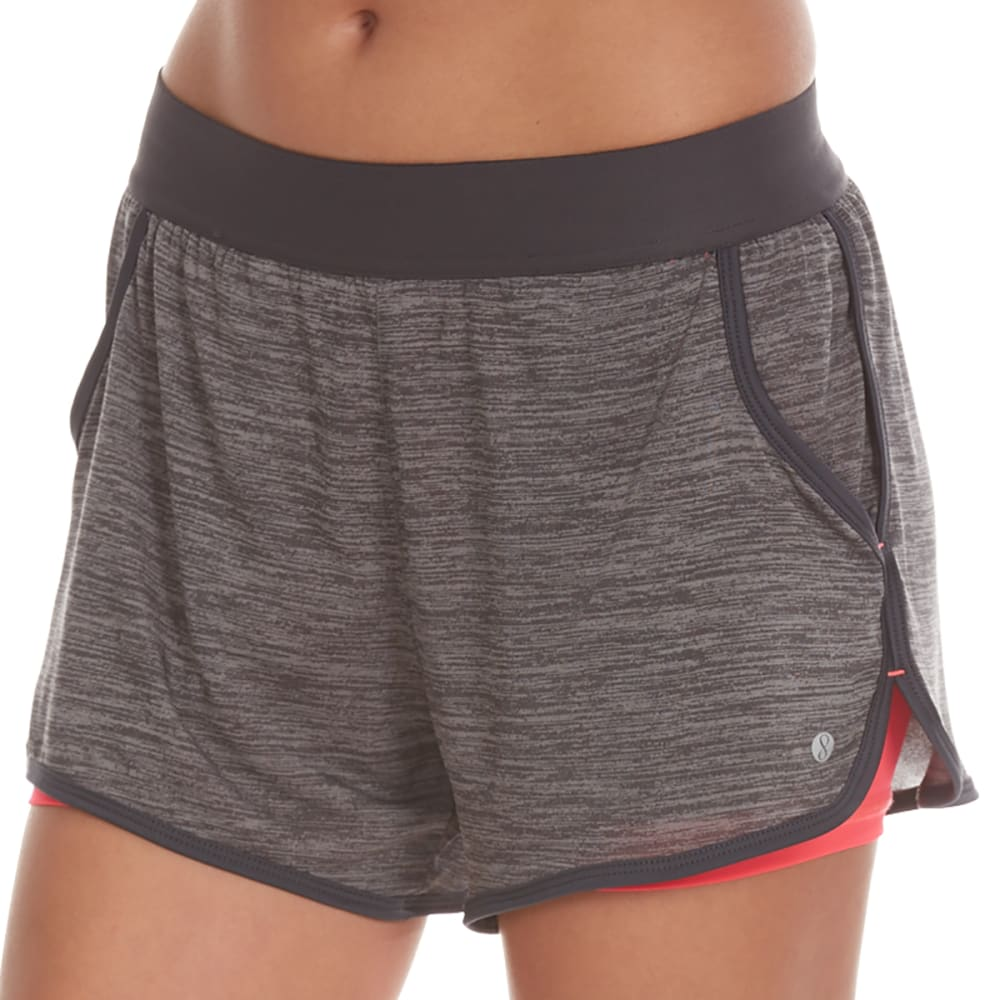 LAYER 8 Women's Knit Shorts with Base Layer - CHAR GRY HTR/PNK GLM