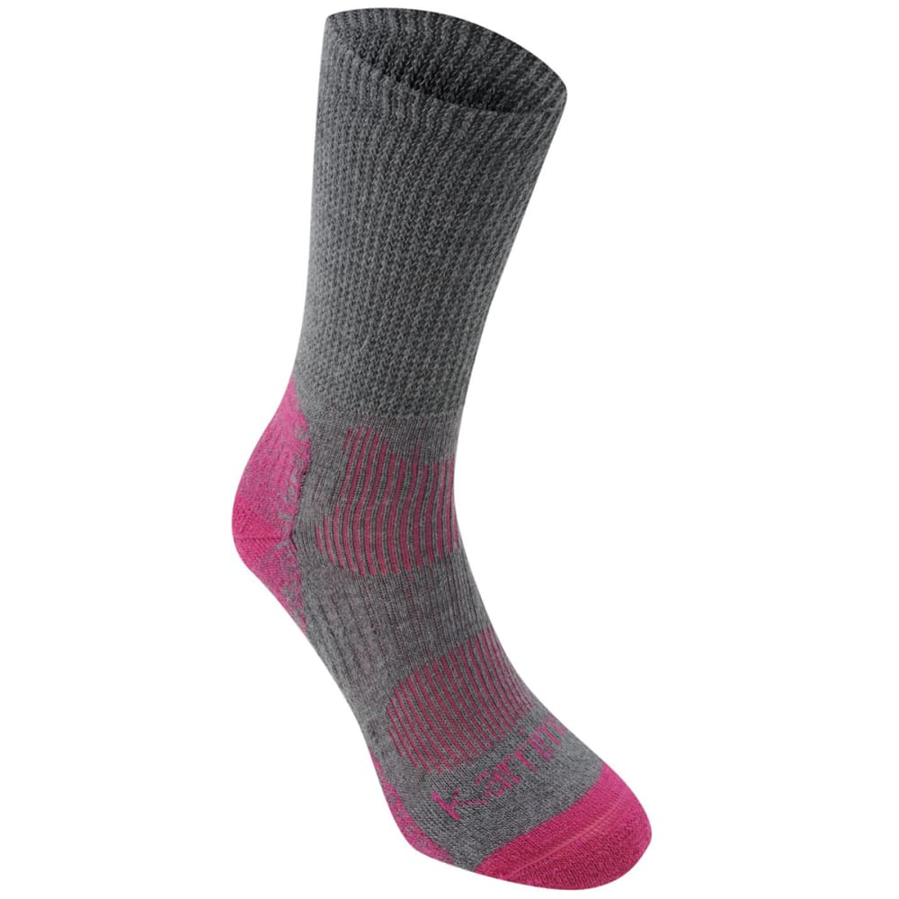 KARRIMOR Women's Merino Fiber Lightweight Hiking Socks - GREY/FUCHSIA