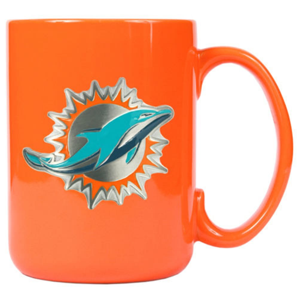 MIAMI DOLPHINS 3D Metal Emblem Mug - ORANGE