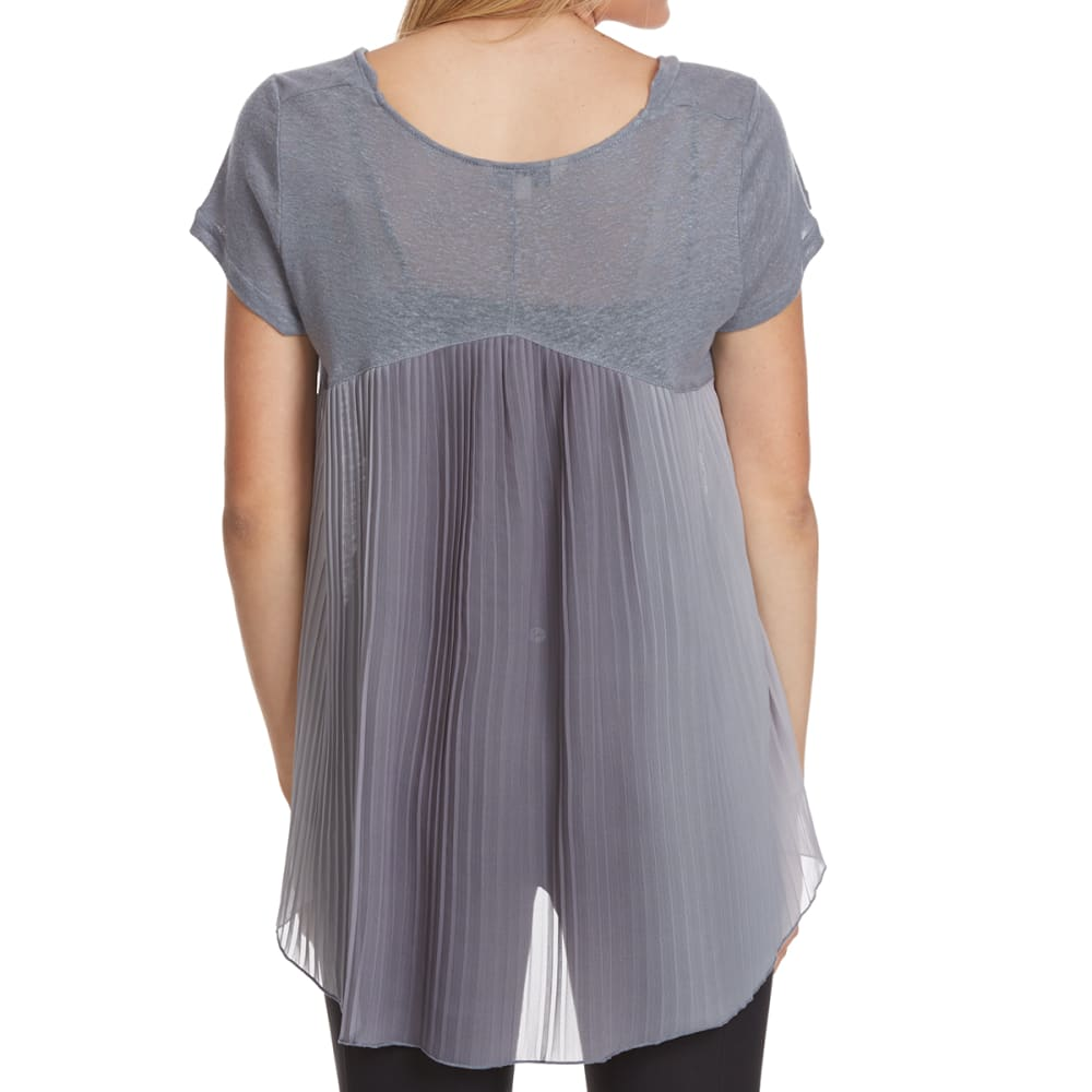 CRIMSON IN GRACE Women's Pleated Ombre Back V-Neck Short-Sleeve Top - PLG-PUDDLE GREY