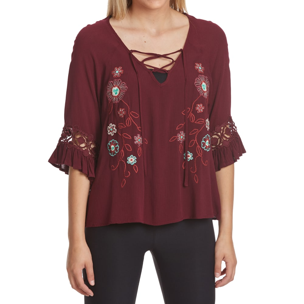 CRIMSON IN GRACE Women's Flower Bell Sleeve Peasant Top - CRI-CRIMSON