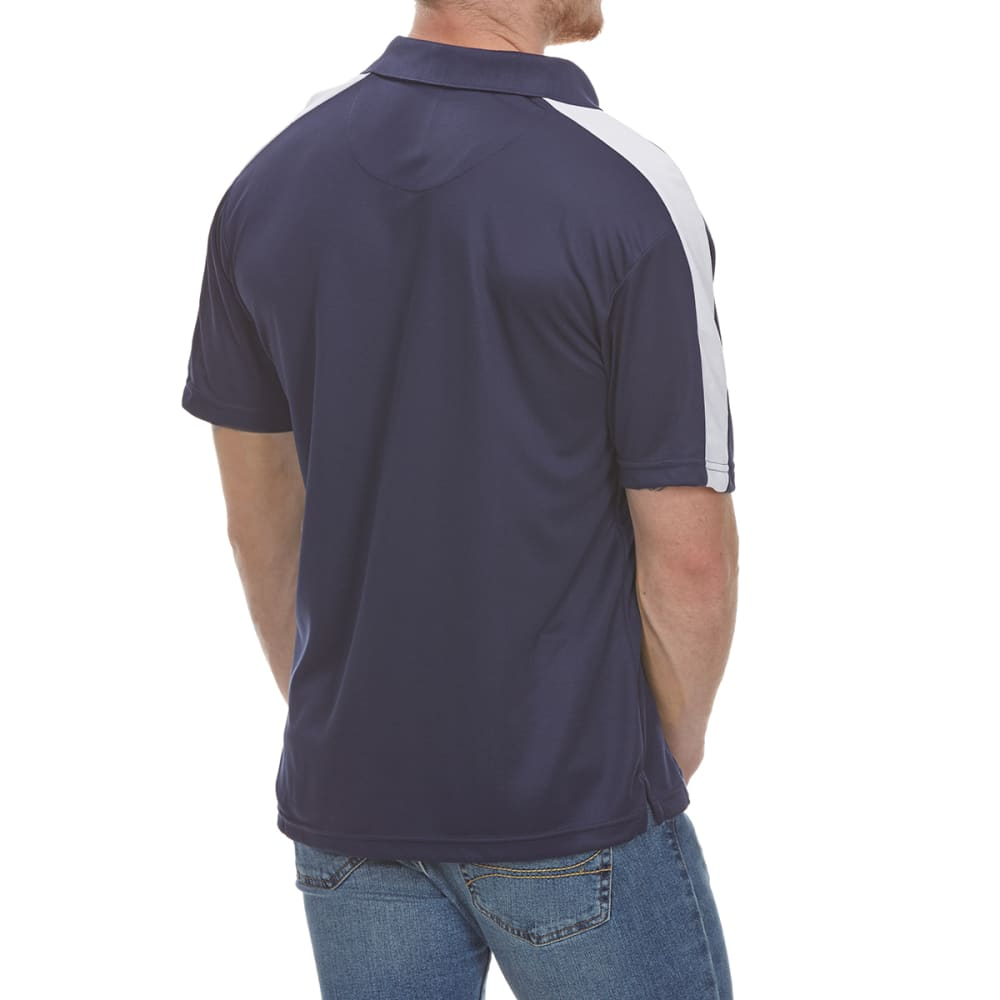 NORTH HUDSON Men's Color-Block Mesh Short-Sleeve Polo Shirt - NAVY/WHT