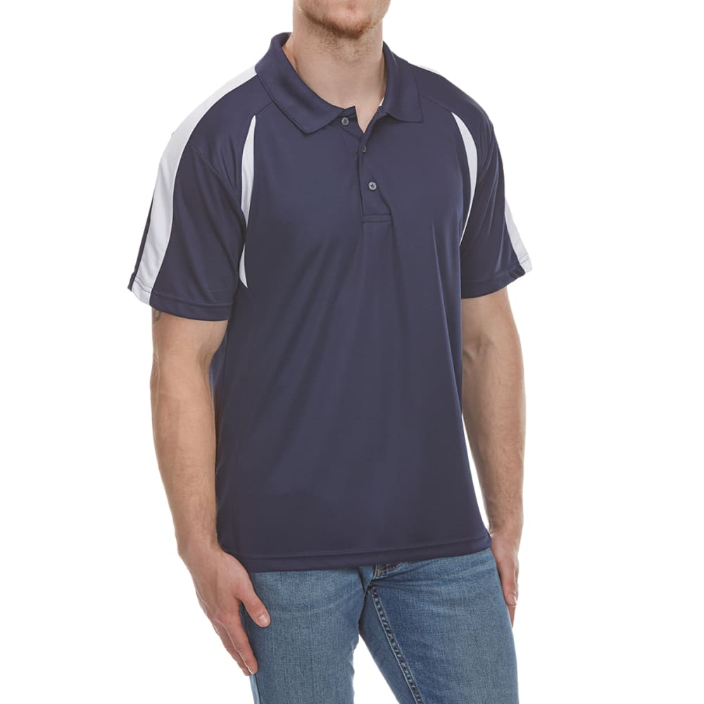 NORTH HUDSON Men's Color-Block Mesh Short-Sleeve Polo Shirt - NAVY/WHT