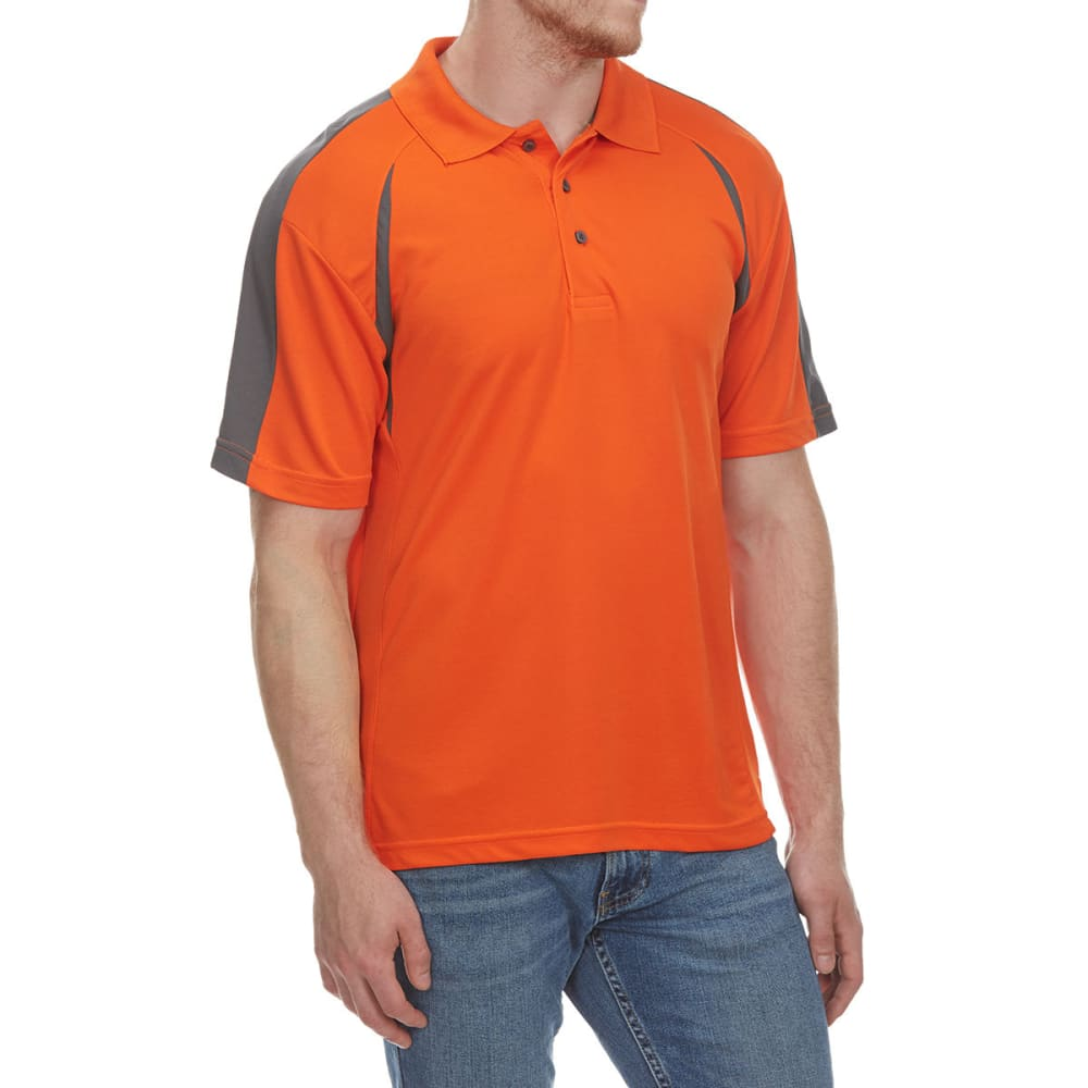 NORTH HUDSON Men's Color-Block Mesh Short-Sleeve Polo Shirt - GOLDEN POPPY