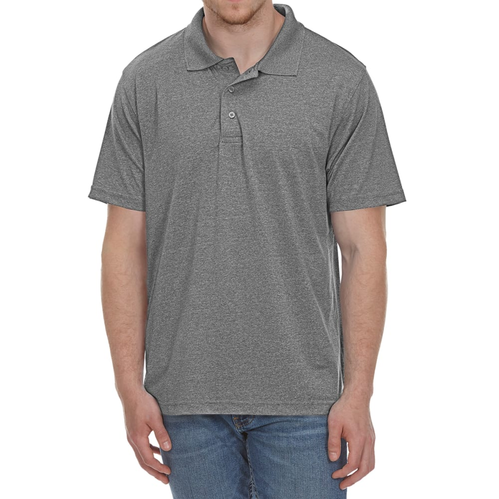 NORTH HUDSON Men's Marled Poly Short-Sleeve Polo Shirt - GREY MARLED