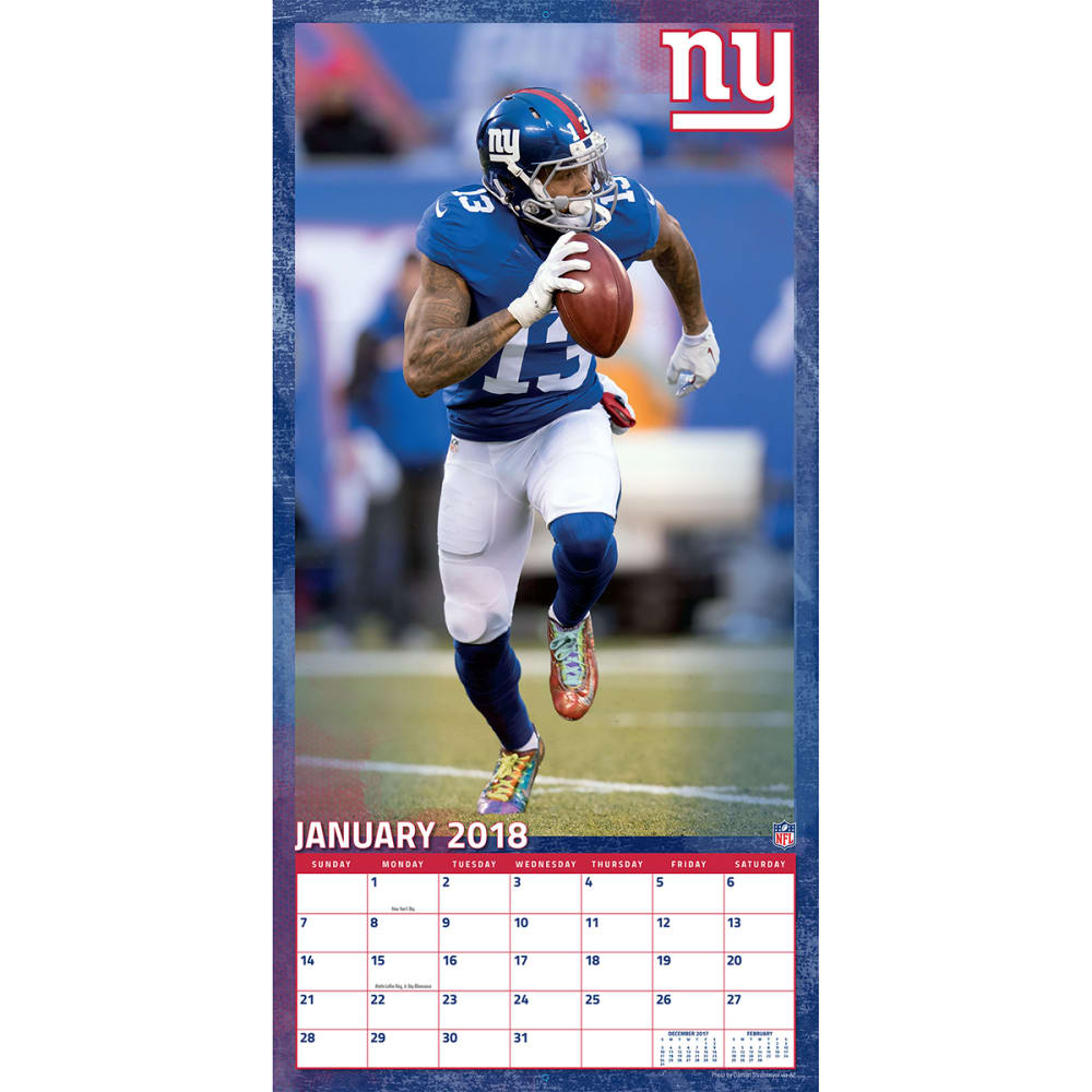 NEW YORK GIANTS Odell Beckham Jr. 2018 Wall Calendar - NO COLOR