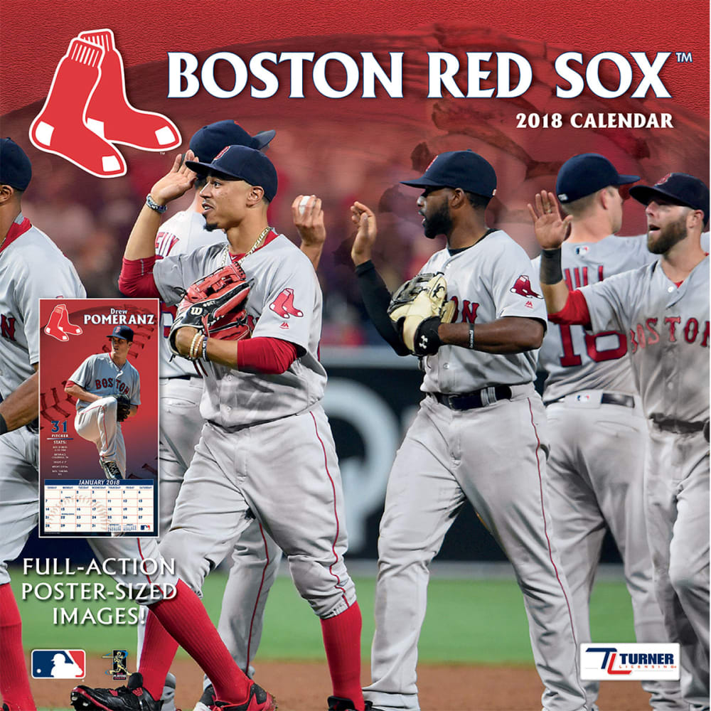 BOSTON RED SOX 2018 12 x 12 in. Team Wall Calendar - NO COLOR