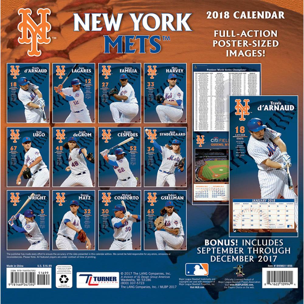 NEW YORK METS 2018 12 x 12 in. Team Wall Calendar - NO COLOR