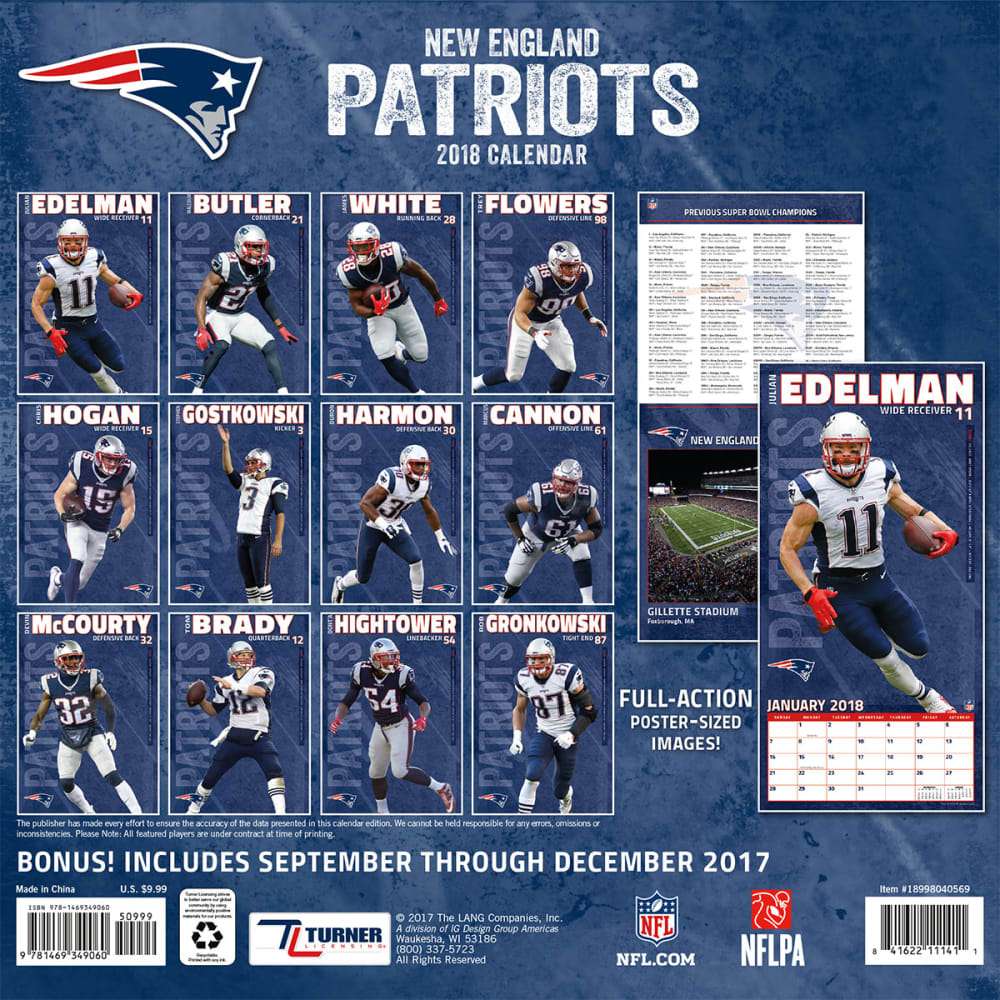 NEW ENGLAND PATRIOTS 2018 7 x 7 in. Mini Wall Calendar - NO COLOR