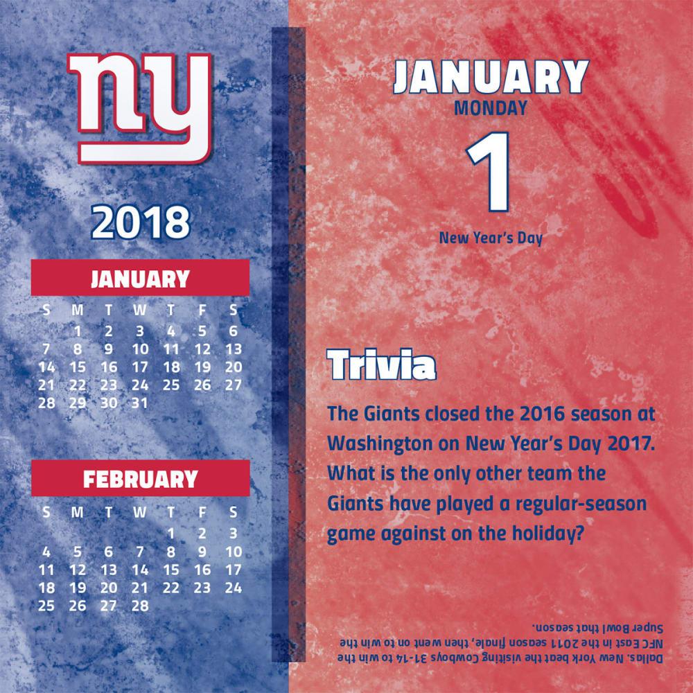 NEW YORK GIANTS 2018 Daily Box Calendar - NO COLOR