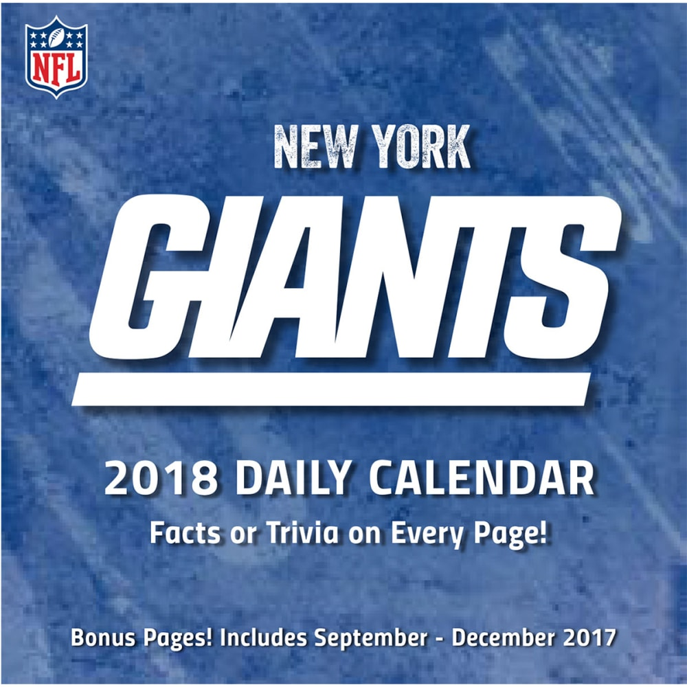 NEW YORK GIANTS 2018 Daily Box Calendar - NO COLOR