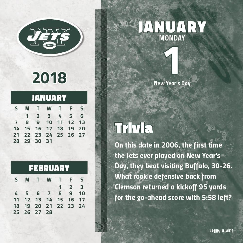 NEW YORK JETS 2018 Daily Box Calendar - NO COLOR
