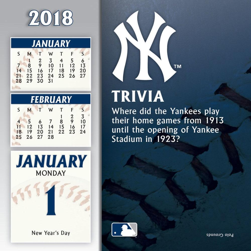 NEW YORK YANKEES 2018 Daily Box Calendar - NO COLOR