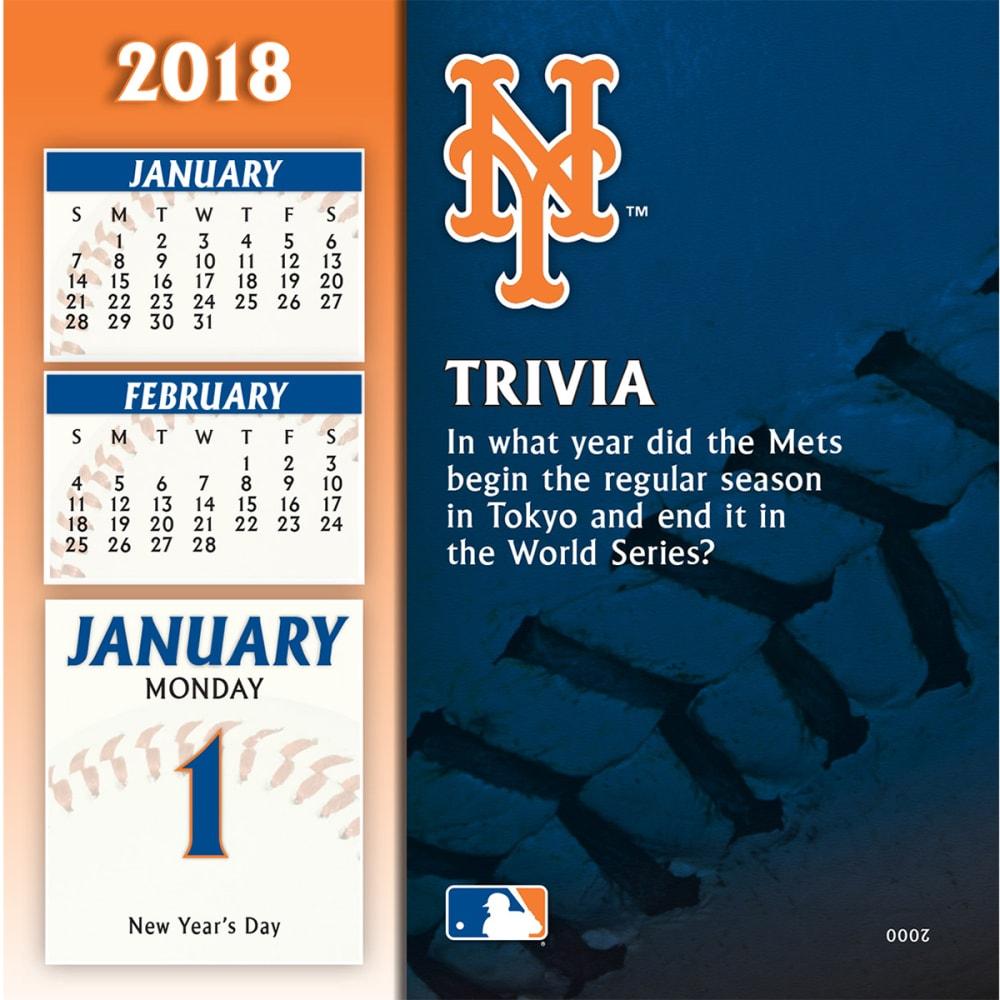 NEW YORK METS 2018 Daily Box Calendar - NO COLOR