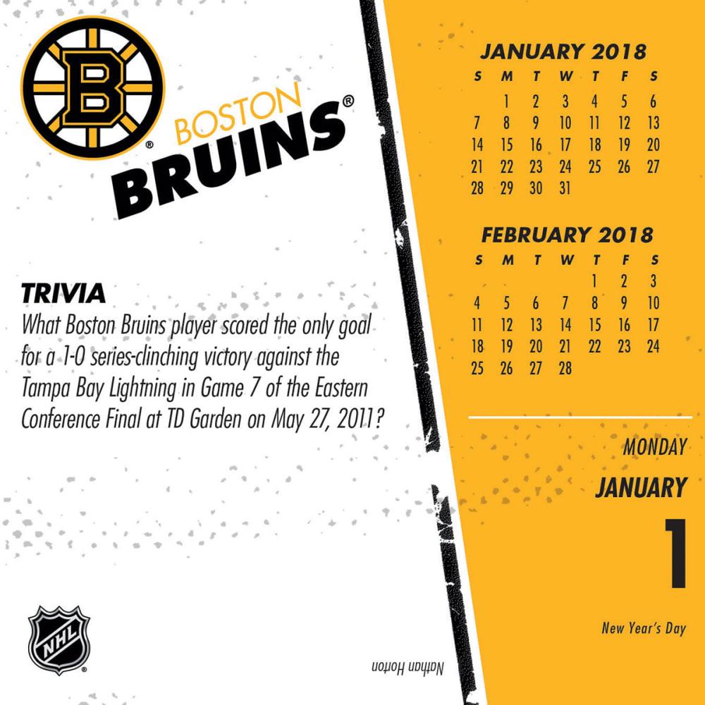 BOSTON BRUINS 2018 Daily Box Calendar - NO COLOR