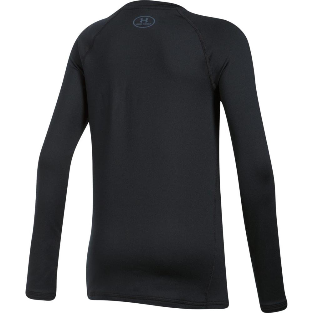 UNDER ARMOUR Girls' ColdGear Crew Neck Long-Sleeve Shirt - 001-BLACK