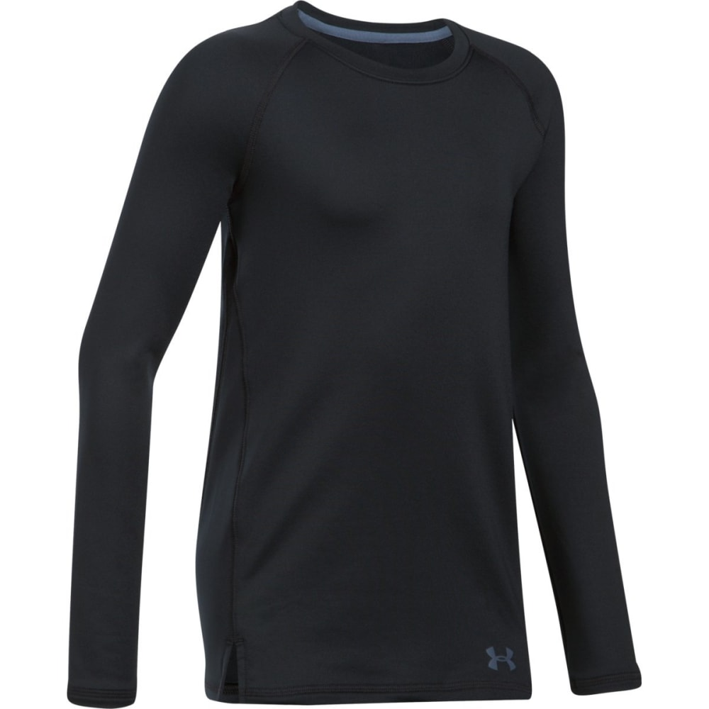 UNDER ARMOUR Girls' ColdGear® Crew Neck Long-Sleeve Shirt - 001-BLACK