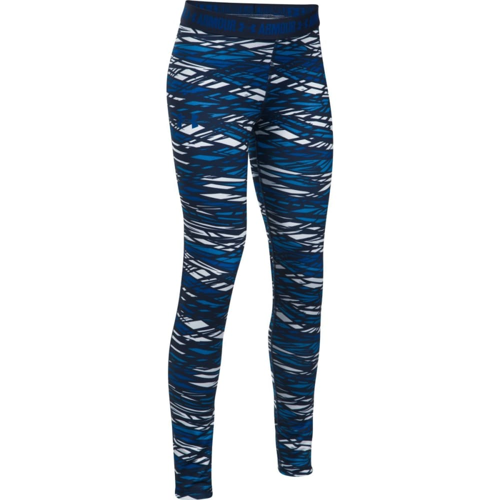 Under Armour Big Girls' Ua Heatgear Armour Printed Leggings - Blue, L