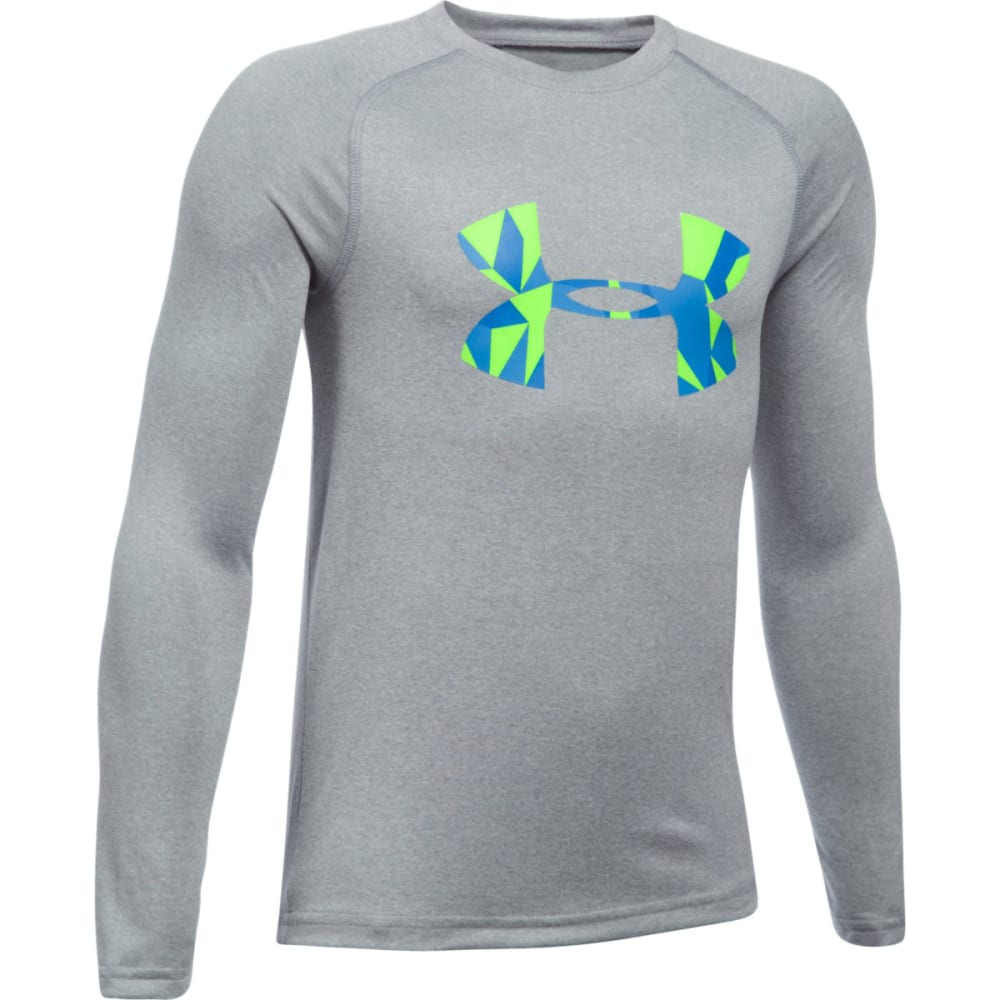 UNDER ARMOUR Boys' Big Logo Long Sleeve Tee - 036-STEELLTHTR/QLIME