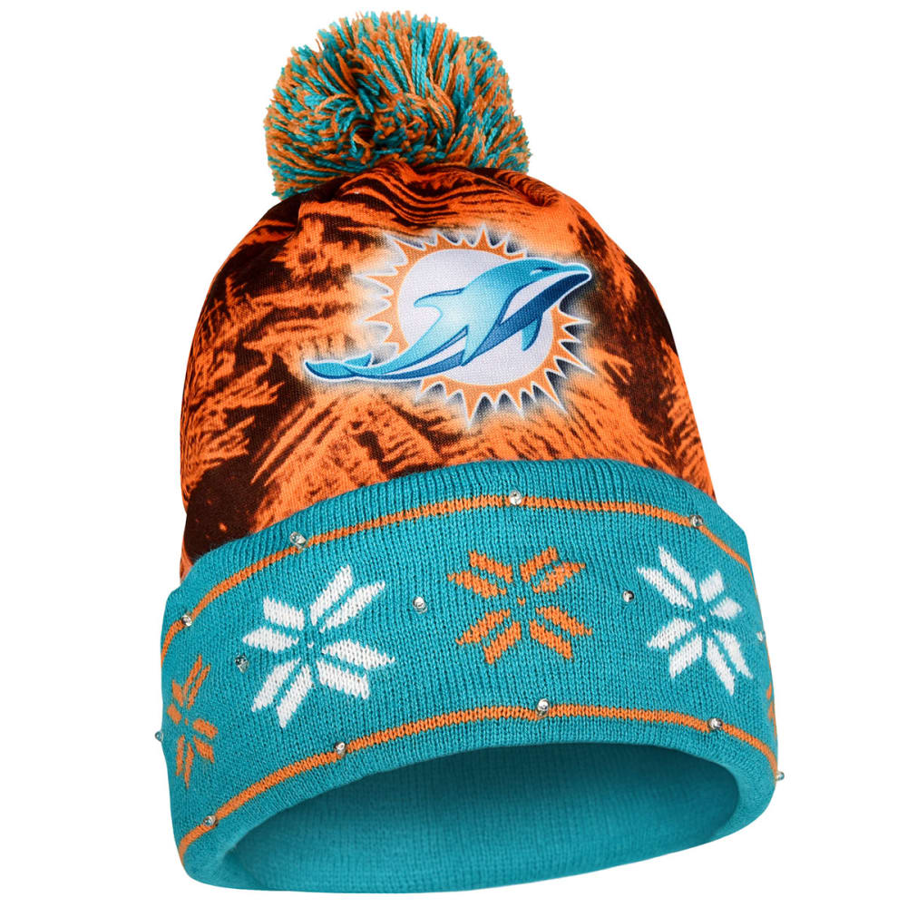 MIAMI DOLPHINS Big Logo Light Up Printed Beanie - TEAL