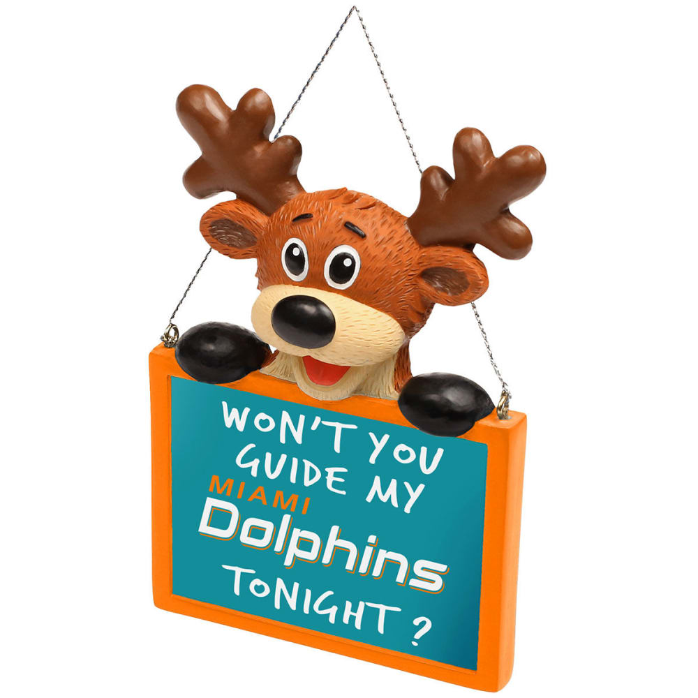 MIAMI DOLPHINS Reindeer Sign Ornament - NO COLOR