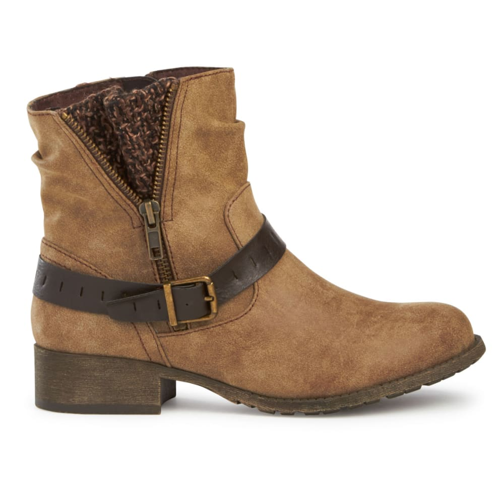 JELLYPOP Women's Cate Short Boots, Distressed Brown - BROWN