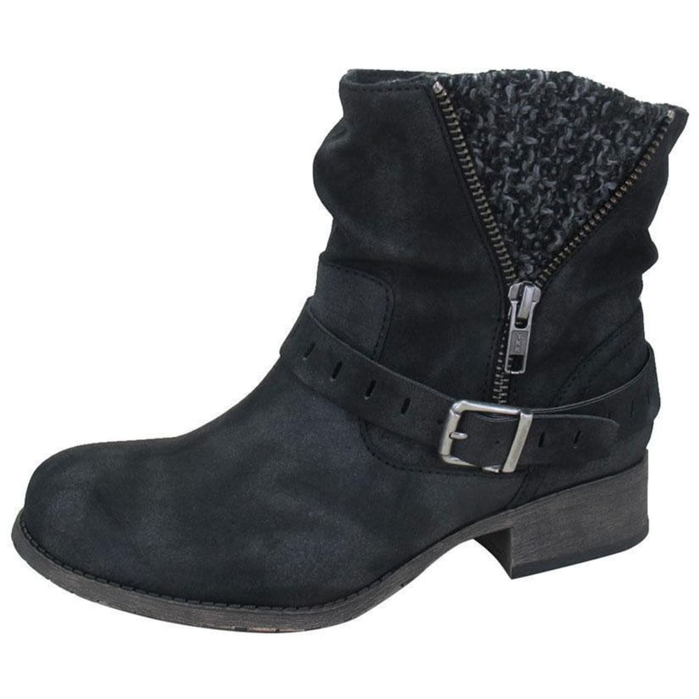 JELLYPOP Women's Cate Short Boots, Distressed Black - BLACK