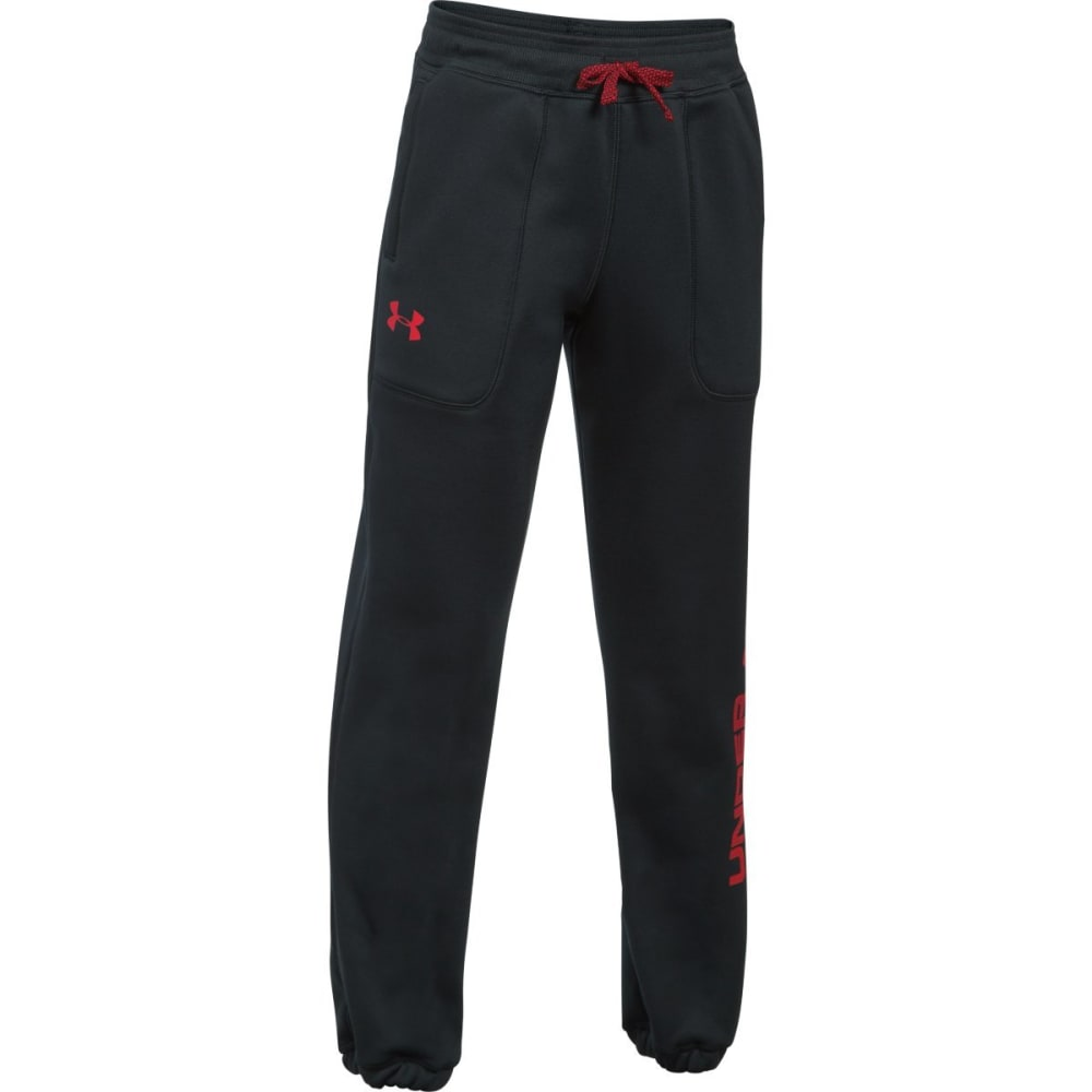 UNDER ARMOUR Big Boys' Armour Fleece Branded Jogger Pants - 001-BLACK/RED