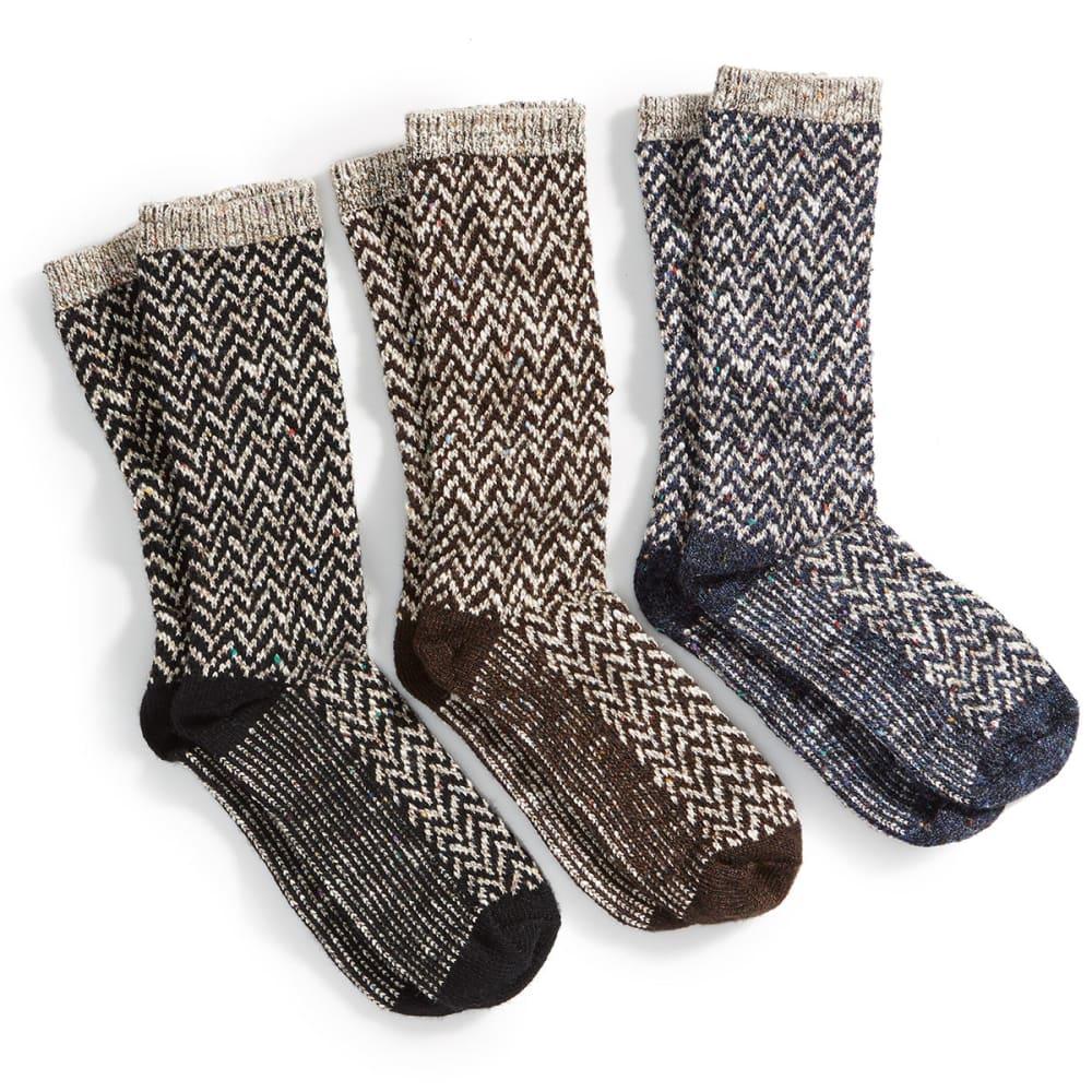 CAROLINA HOSIERY Women's Chevron Crew Socks, 3 Pack - ASSTD-BLK/GARNET/DEN