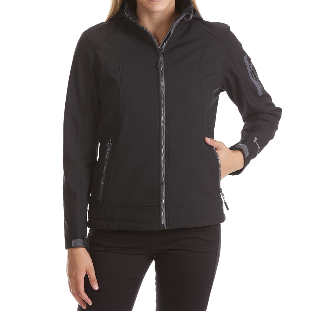 FREE COUNTRY Women's Short Hooded Soft Shell Jacket - BLACK