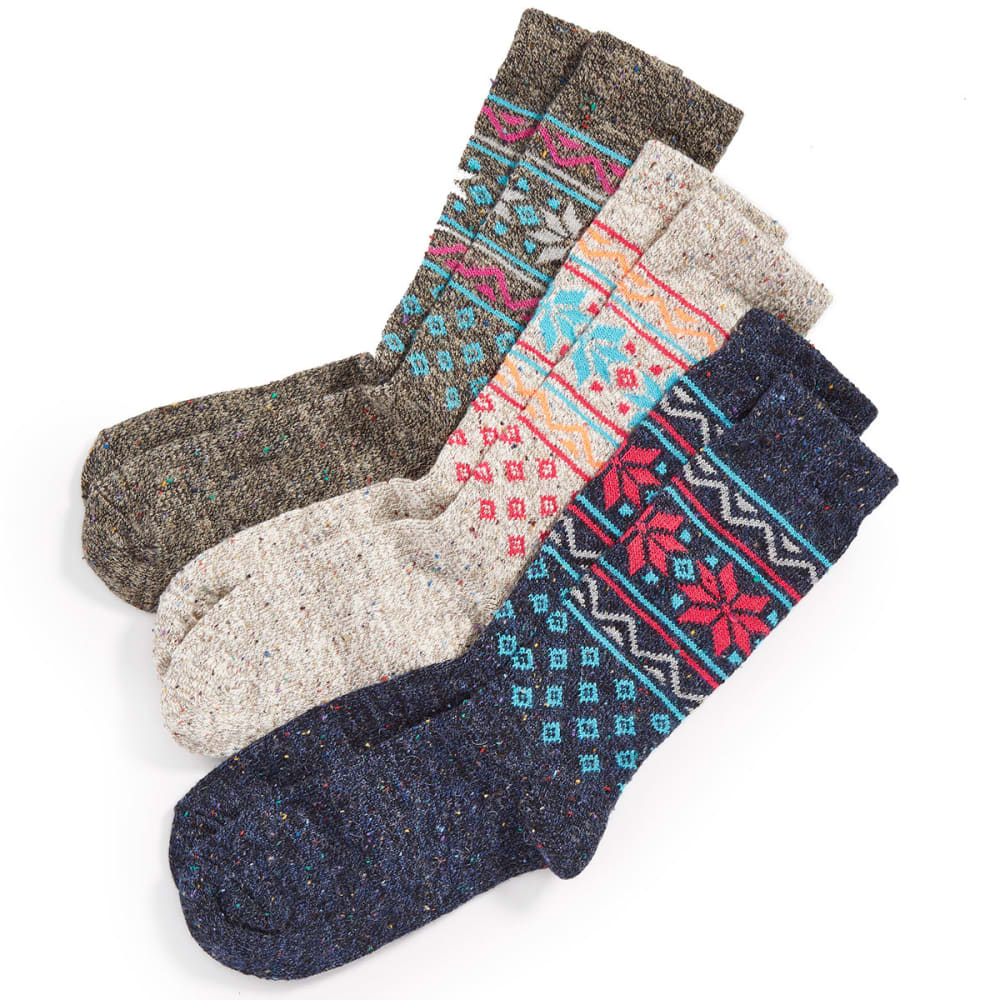 CAROLINA HOSIERY Women's Wintry Mix Crew Socks, 3 Pack - ASST-NAT/DENIM/BLK