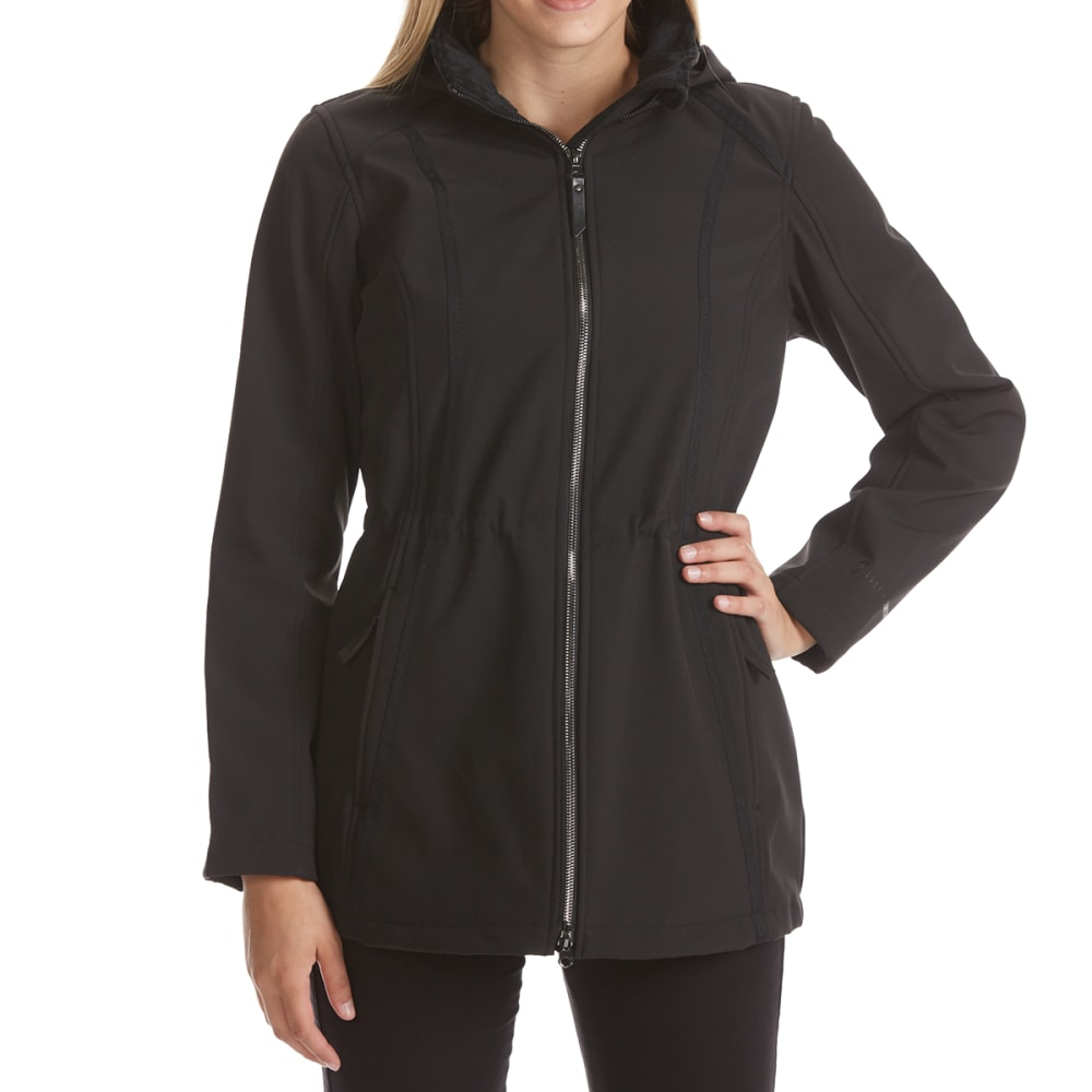 FREE COUNTRY Women's Solid Long Hooded Soft Shell Jacket - BLACK
