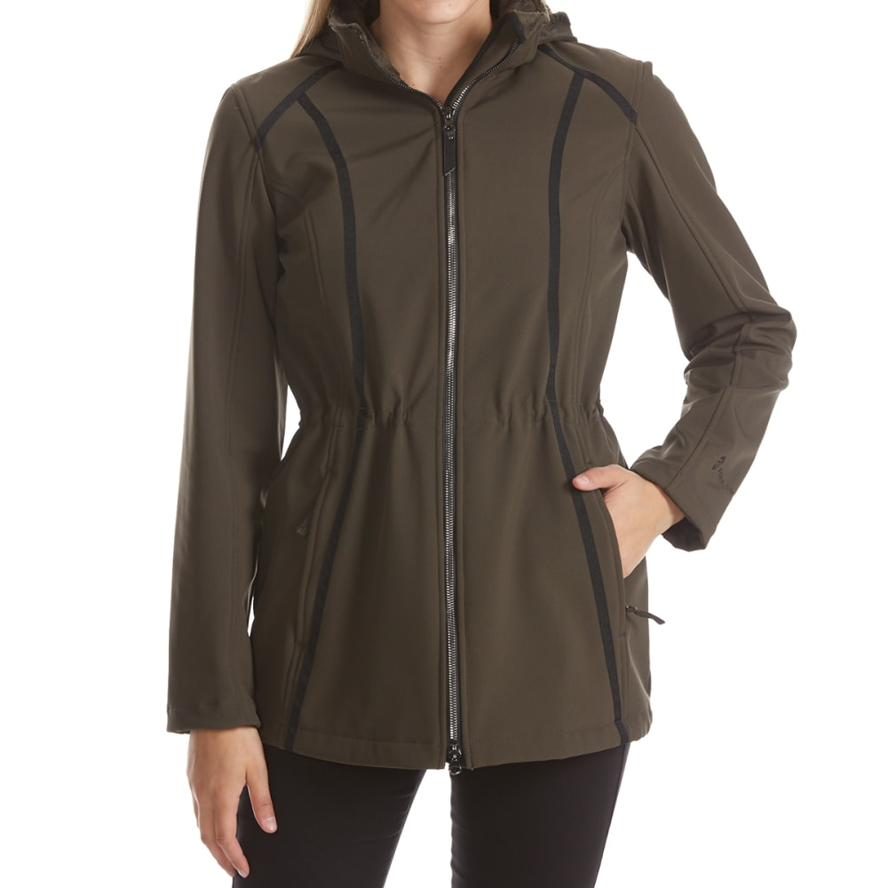 FREE COUNTRY Women's Solid Long Hooded Soft Shell Jacket - DRK OLIVE