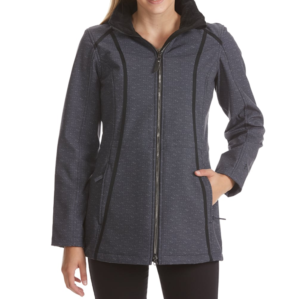 FREE COUNTRY Women's Print Long Hooded Soft Shell Jacket - BLACK HERRINGBONE