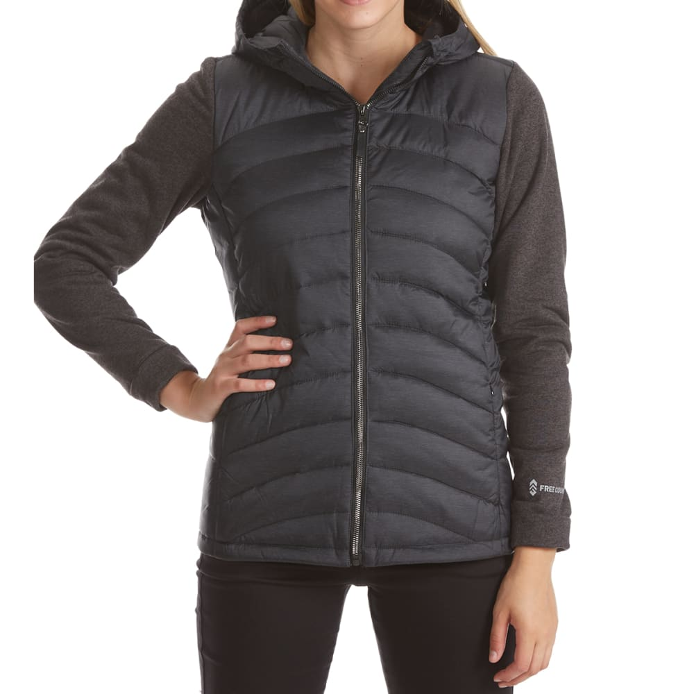 FREE COUNTRY Women's Quilted Jacket with Sweatshirt Fleece Sleeves - BLACK