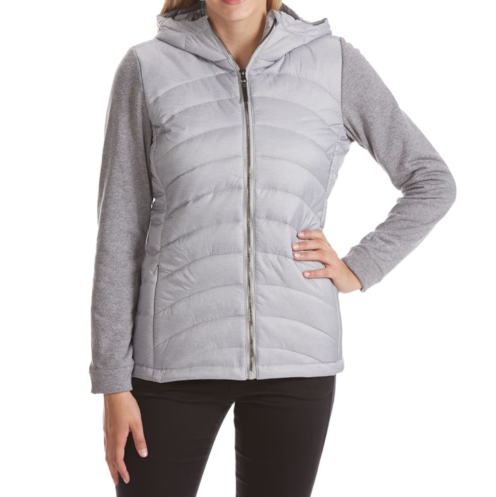 FREE COUNTRY Women's Quilted Jacket with Sweatshirt Fleece Sleeves - SOFT SAND