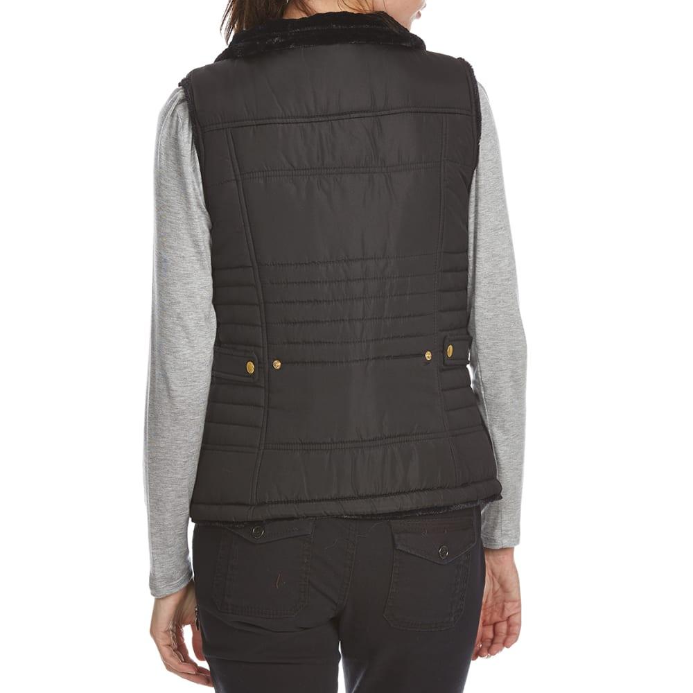 KC COLLECTIONS Women's Solid Reversible Vest - BLACK/BLACK