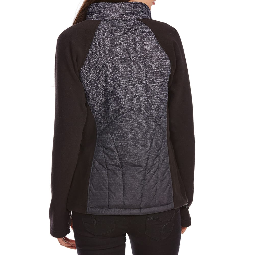 NEW BALANCE Women's Fleece Jacket with Ombre Quilted Overlay - BLACK SPACEDYE-PT276