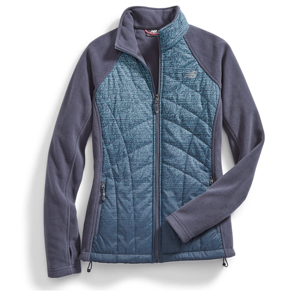 NEW BALANCE Women's Fleece Jacket with Ombre Quilted Overlay - AQUA/THNDERGRY-PT286