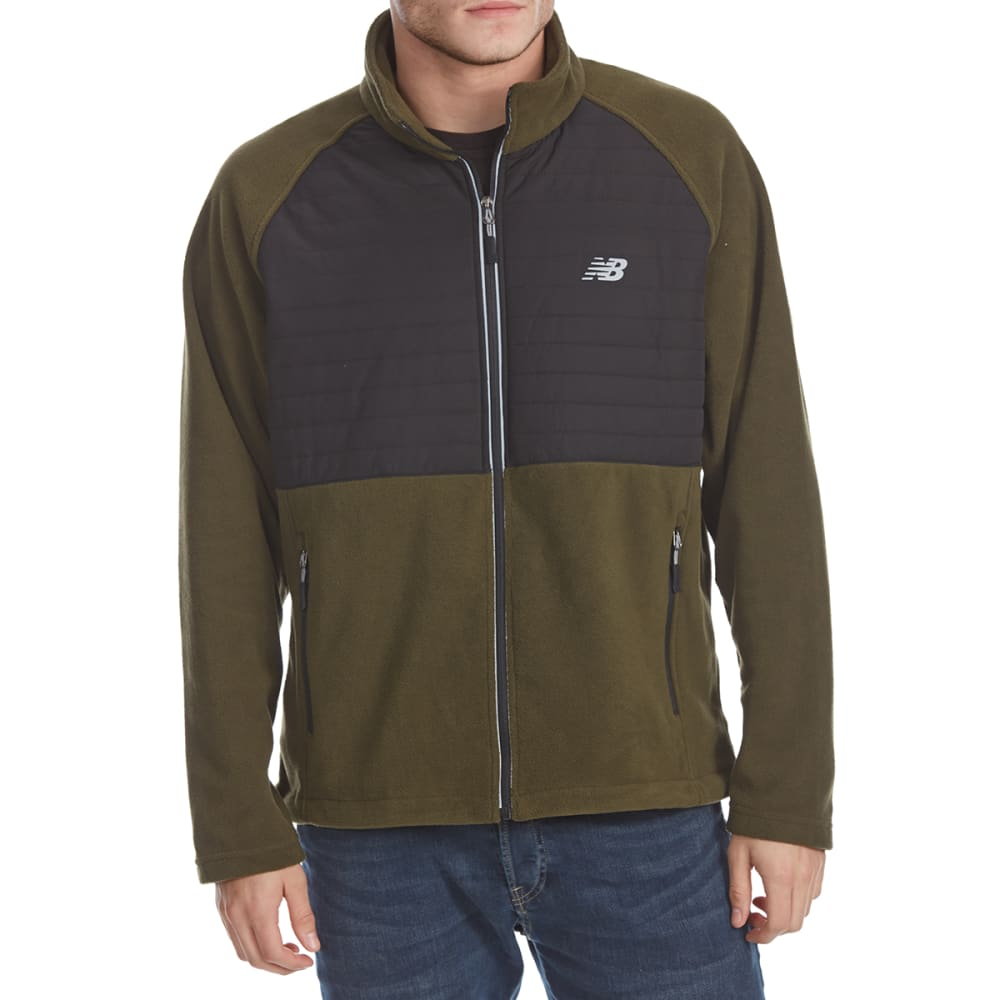NEW BALANCE Men's Quilted Chest Full-Zip Fleece Jacket - OLIVE-GR123