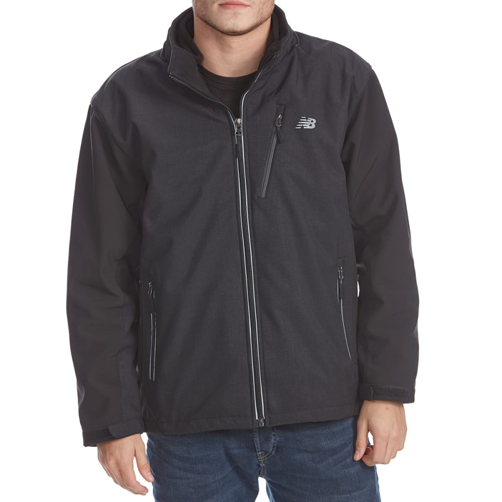 NEW BALANCE Men's Two-Tone Printed System Soft Shell Jacket - BLACK -PD210