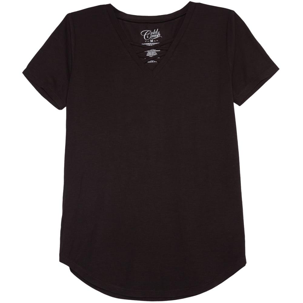 HYBRID Juniors' Crisscross Front Short-Sleeve Tee - BLACK