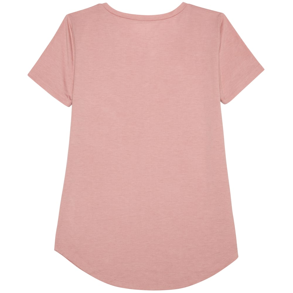 HYBRID Juniors' Crisscross Front Short-Sleeve Tee - PALE MAUVE