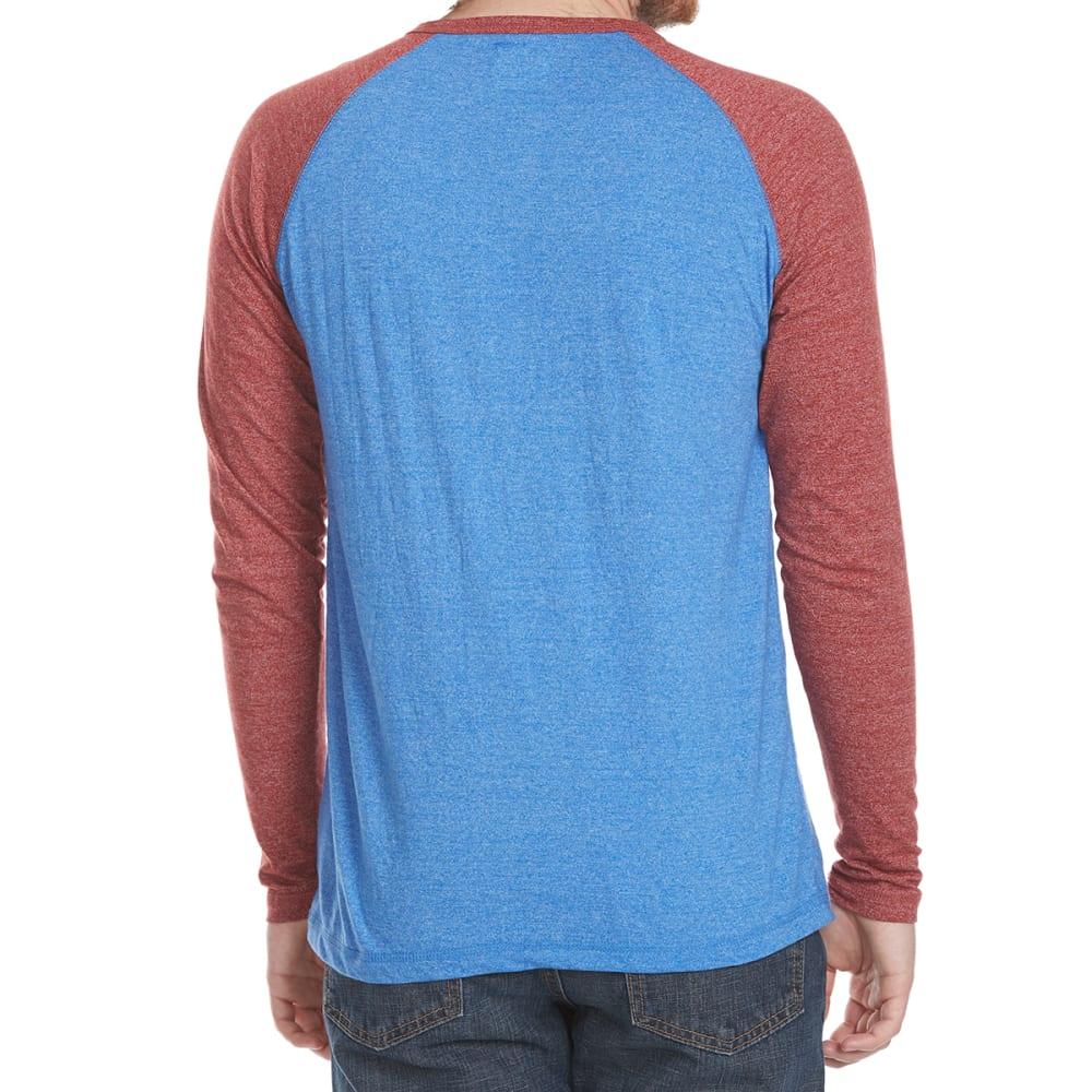 ALPHA BETA Guys' Henley Raglan Long-Sleeve Shirt - RED/NVY
