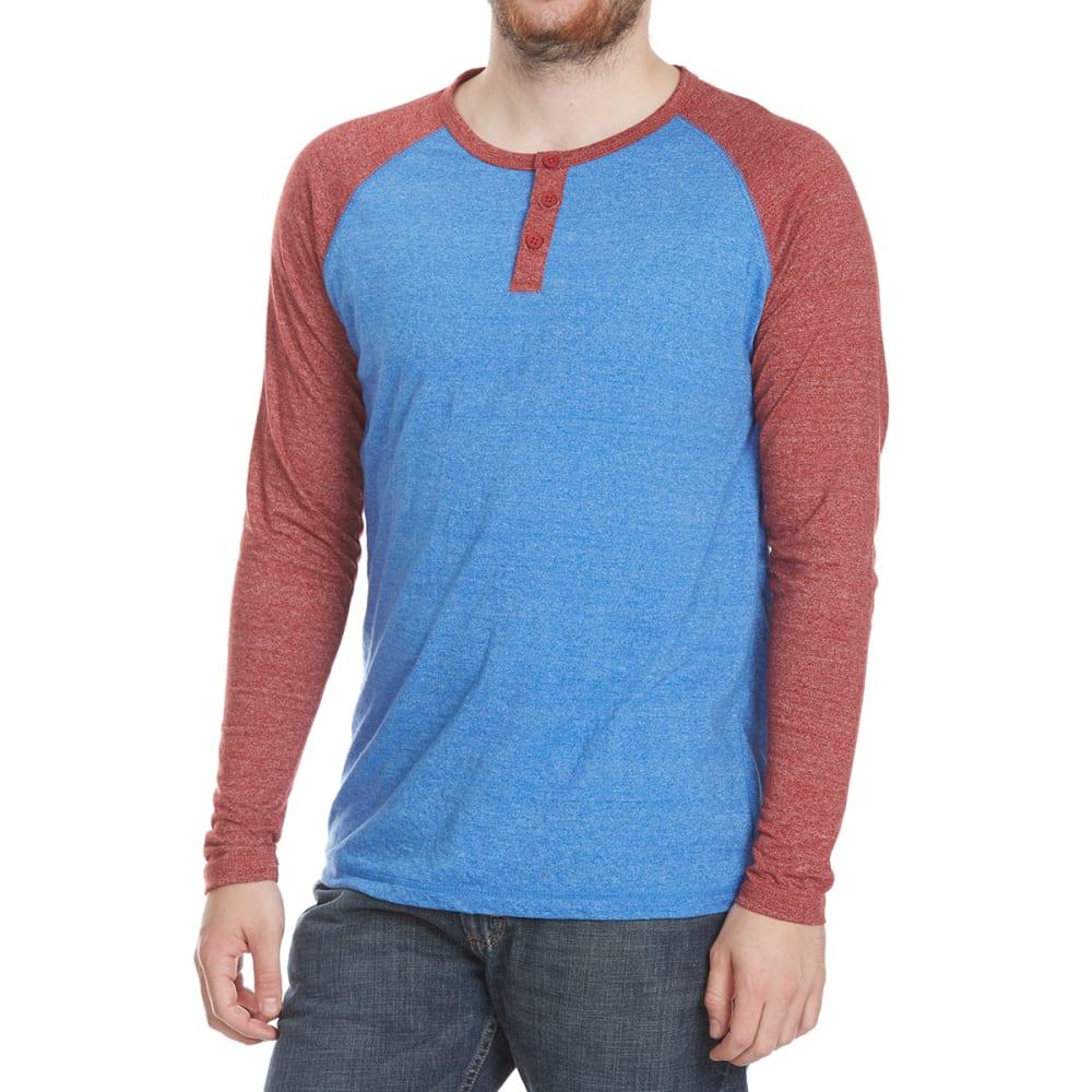 ALPHA BETA Guys' Henley Raglan Long-Sleeve Shirt - RED/NVY