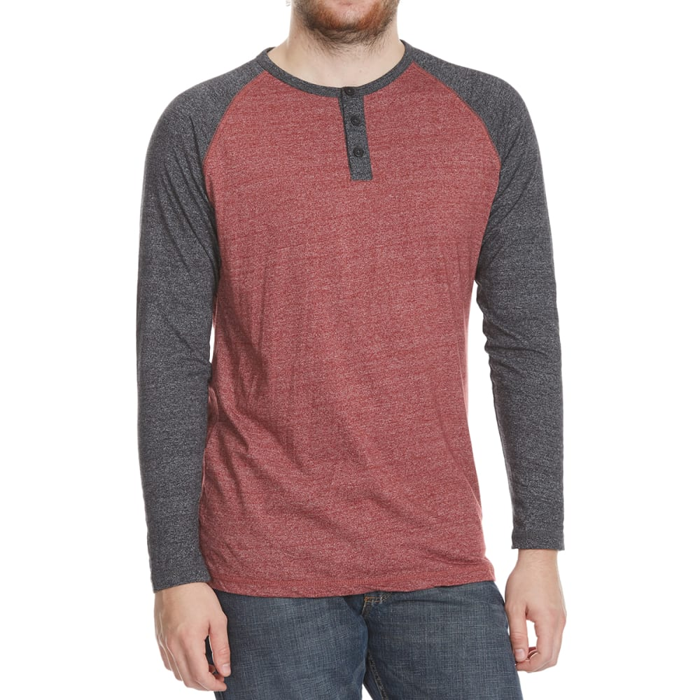 Alpha Beta Guys Henley Raglan Long-Sleeve Shirt - Red, S