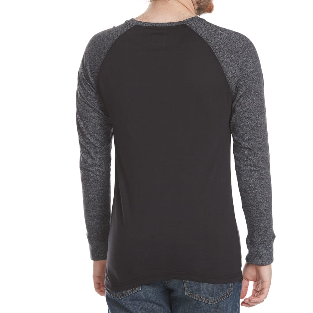 ALPHA BETA Guys' Raglan Crew Long-Sleeve Shirt - BLK/CHR
